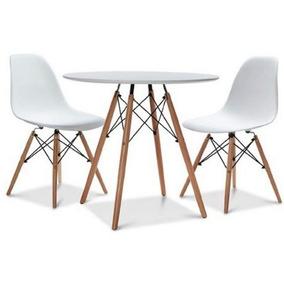 Kit Jogo Mesa Charles Eames Eiffel 90cm Com 2 Cadeiras Wood