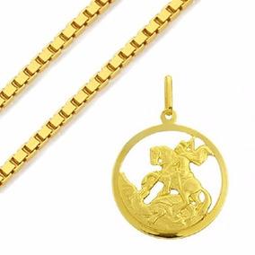 Corrente Ouro 18k + Medalha Ouro 18k São Jorge - Viagold C81
