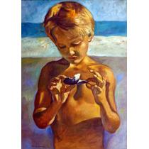 Quadro Óleo Tela Pintura Praia Marinha Gravura Paisagem Arte