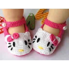 Sapatinho De Crochê Para Bebês Hello Kitty
