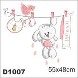 Adesivo D1007 Coelho Quarto Bebe Decorativo Feminino