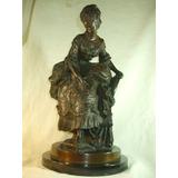 Escultura Em Bronze Figura Feminina Assinada - Antiga