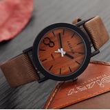 Relógio Feifan Pulseira De Couro Cor De Madeira - M009