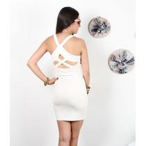 Vestido Blanco Con Ciere Al Frente Y Aberturas En Espalda