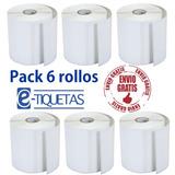 6 Rollos Etiquetas Autoadhesivas Opp 100x25 X 2000u Plastica