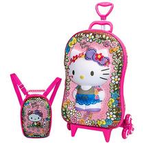 Mochila Escolar Mochilete 3d Hello Kitty Maxtoy Lancheira