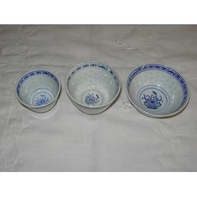 Bowl Oriental Porcelana Grano De Arroz 3 Medidas Souvenir