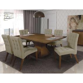 Sala De Jantar Mesa Com 6 Cadeiras Madeira Maciça Vancouver