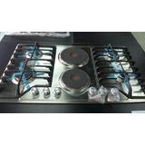 Tope De Cocina De 90cm Tecnolam Dual A Gas Y Electrico Acero