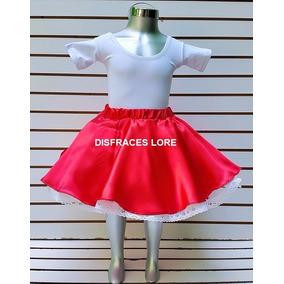 Disfraz Falda De Rock Roja & Roll Onda Vaselina Envio Gratis
