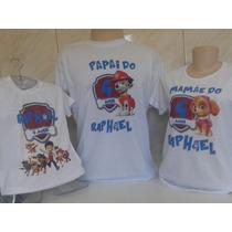 Kit Família 3 Camisetas Personalizadas Patrulha Canina