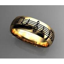 Par De Alianças Boleada Notas Musicais Ouro 18k 750