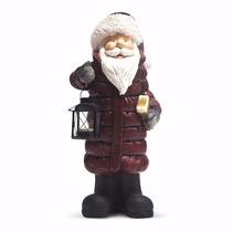 Decoração De Natal Papai Noel C/lanterna Vela De Led