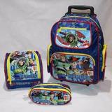 Kit Mochila Infantil Escolar De Rodinhas Toy Story