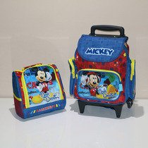 Kit Mochila Infantil Mickey + Lancheira + Estojo Pequena