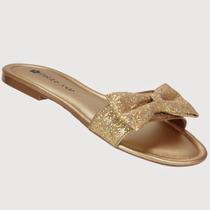 Rasteira Petite Jolie Laço Glitter Ouro Pj418