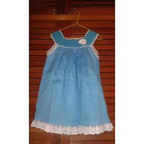 Vestido Azul Y Blanco Niña Talla 2 Años Con Tejido Y Encaje