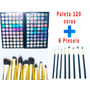 Kit Maquiagem Profissional 8 Pinceis + Paleta Com 120 Cores