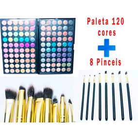 Kit Maquiagem Completo Paleta Com 120 Cores + 8 Pinceis