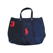 Bolso Polo Ralph Lauren Cotton Canvas Big Pony Zip Tote !