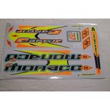 Adesivo Colante P/bike Monaco Raptor R6 Verde/laranja/preto