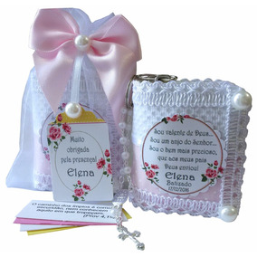 Kit Com 22 Lembrancinha Batizado Menina Rosa Floral Comunhão