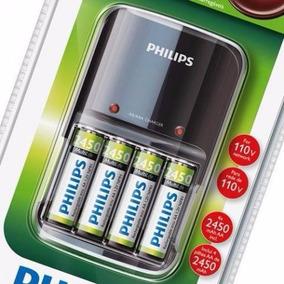 Carregador De Pilha Philips Scb-1485nb Univ+4pilhas Aa 110v