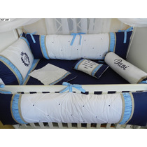 Kit Berço Personalizados 10 Pçs Provençal Luxo Azul Marinho