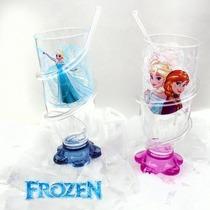 Frozen Anna E Elsa Copo Colecionável Com Canudo Em Espiral