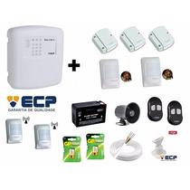Kit Alarme Ecp Central Maxcell 4 Gsm + Baterias + Sensores