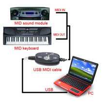 Cabo Interface Usb Suporte Midi Adaptador Pc Música Teclado
