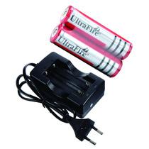 01 Carregador + 2 Baterias 18650 - Ultrafire 3,7v