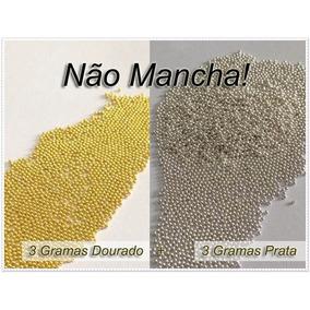 3g Dourado + 3g Prata - Caviar Metal Unhas Micro/mini Pérola