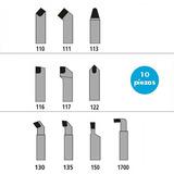 Juego 10 Herramientas Torno Cabo 1/4 (6mm) Metal Duro Widia