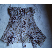 Blusa Crepe De Seda Animal Print Drapeada Tamanho M