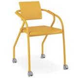 Cadeira De Escritório Com Rodízios, Corino Amarelo Ouro, Fox