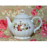 Tetera Porcelana Verbano Flores Colores Relieve
