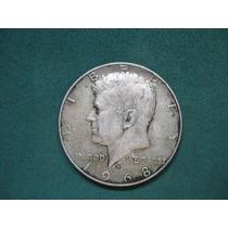 Moneda Half Dollar 1968d, Estados Unidos, Km# 202.a De Plata