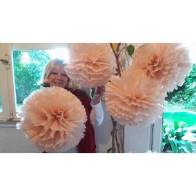 Pompones Y Flores En Papel Seda $ 15- 16 Cm Oferta!!