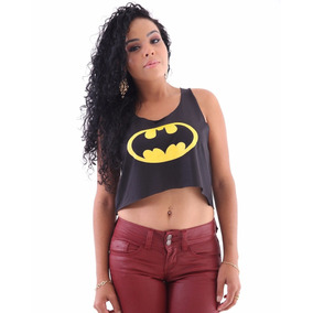 Blusa Batman Heróis - Regata Camiseta Cropped