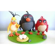 Souvenir Adorno Torta Cumpleaños Angry Birds Porcelana