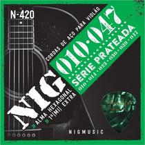 Cordas P/ Violão Aço Nig 010 047 N420 Prata + Palheta Fender