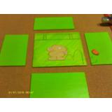 Set De 5 Maderas Decorativas Verde Manzana Con Oso Pintado