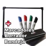 Pizarra Blanca Con Accesorios 80x120cm Marco Negro