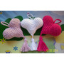 Souvenirs Corazones Tejidos Al Crochet Con Borla