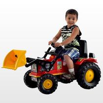 Trator Infantil Veiculo Farmer Vermelho Com Pa Pedal Buzina