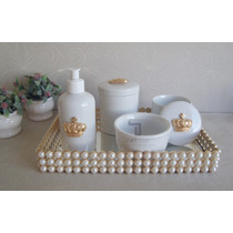 Kit Higiene Bebê Porcelana Pote Gel Bandeja Perola Cotonete