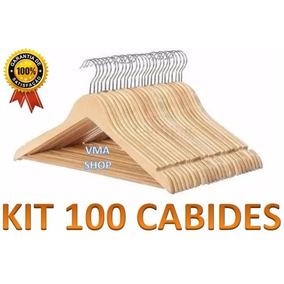 Kit Com 100 Cabides De Madeira. Importado - Melhor Preço!!!