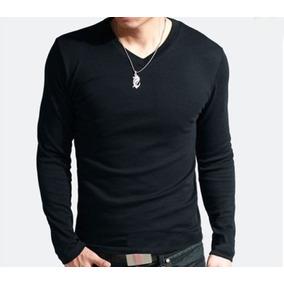 Camiseta Blusa Manga Longa Gola V Lisa - Pv Algodão - Swag
