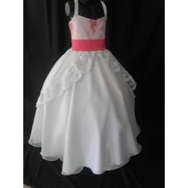 Vestido Nuevos De Primera Comunión Blanco Con Fucsia
